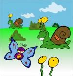 Dessin Comptine Petit escargot, trois escargots et un papillon