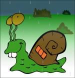 Dessin Comptine Petit escargot, un escargot et sa maison coquille sous la pluie