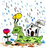 Dessin Comptine Petit escargot, un escargot sous la pluie