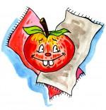 Illustration Comptine Pomme de reinette et pomme d'api, une belle pomme rouge