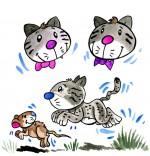 Dessin Comptine Trois chats sur le tapis, un chat bondit sur une souris