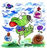 Illustration Comptine Une souris verte, de l'huile, de l'eau et un escargot