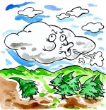 Dessin Comptine Vent frais, vent du matin, le nuage qui souffle