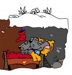 Dessin Conte La Nuit avant Noël, la maison des souris sous la neige