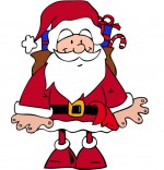 Dessin Conte La Nuit avant Noël, Le père Noël  avec sa hotte sur le dos