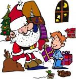 Dessin Conte La Nuit avant Noël, Le pére Noël donne les cadeaux