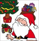 Dessin Conte La Nuit avant Noël, Le père Noël dubitatif sous le sapin