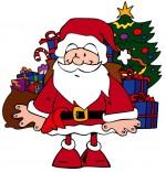 Dessin Conte La Nuit avant Noël, Le père Noël et les jouets sous le sapin