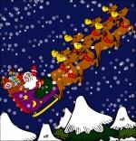Illustration Conte La Nuit avant Noël, le père Noël  et son traineau sous la neige