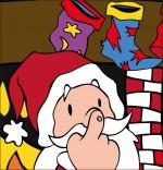 Conte La Nuit avant Noël, le père Noël fait un signe avec son nez