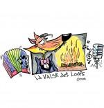 Illustration Conte La Valse des Loups, un loup, un accordéon, un micro et un feu de bois