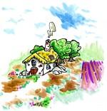 Dessin Conte Le petit Poucet, la maison de l'ogre