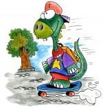 Illustration Cours de dessin pour enfants, le dinosaure fonce à l'école