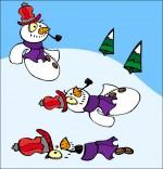 Illustration Poésie de Noël, le bonhomme de neige fond sous le soleil