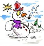 Illustration Poésie de Noël Le bonhomme de neige, le bonhomme fait des bulles de savon