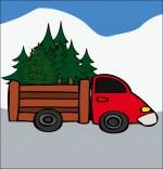 Illustration Poésie de Noël Le sapin de Noël, le camion qui transporte les sapins
