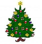 Illustration Poésie de Noël Le sapin de Noël, un sapin avec des étoiles et des boules de Noël