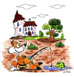 Dessin Vacances d'été à la campagne, le renard pêche