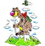 Illustration Vacances d'été à la montagne, un ours au sommet