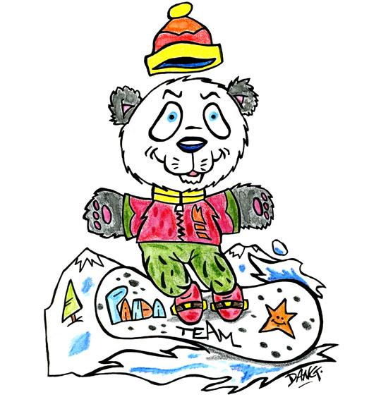 Dessin des vacances de février, un panda surfe sur la neige, illustrateur Dang