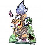 Illustration Vacances de février, un singe joue du cornet