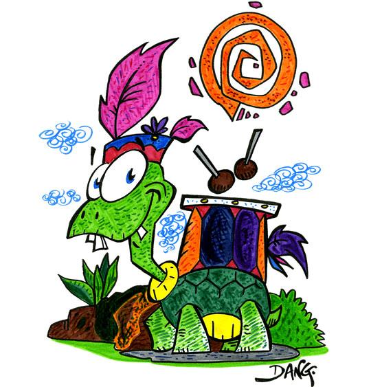 Dessin des vacances de février, une tortue batucada, illustrateur Dang