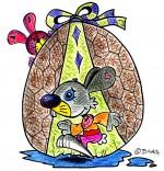 Illustration Vacances de Pâques, deux lapins et un oeuf en chocolat