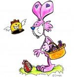 Dessin Vacances de Pâques, le lapin ramasse les oeufs en chocolat