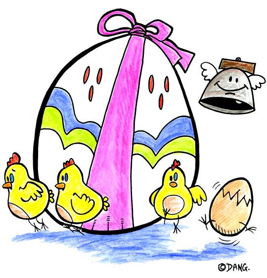 Dessin Vacances de Pâques, les petits poussins de Pâques, illustrateur Dang
