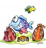 Illustration Vacances de Pâques, les poissons et les oeufs de Pâques