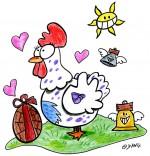 Dessin Vacances de Pâques, une poule amoureuse d'un oeuf en chocolat