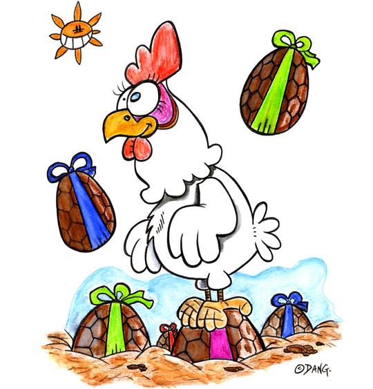 Dessin Vacances de Pâques, une poule au milieu des oeufs de Pâques, illustrateur Dang