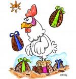 Vacances de Pâques, une poule au milieu des oeufs de Pâques
